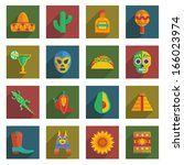 Set Of Mexican Themed Icons On...