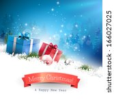 christmas greeting card with... | Shutterstock .eps vector #166027025