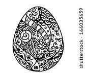 sketch style floral easter egg | Shutterstock .eps vector #166035659