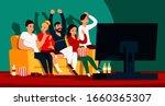 friends watching tv. cartoon... | Shutterstock .eps vector #1660365307