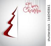merry christmas paper tree... | Shutterstock .eps vector #166040861