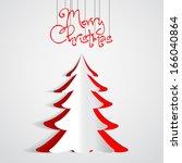 merry christmas paper tree... | Shutterstock .eps vector #166040864