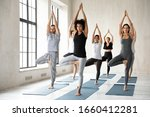 Small photo of African ethnicity woman yoga coach performs asana standing in Tree Pose or Vrikshasana balancing position with group of multiracial millennial people during morning session, exercise improve stability