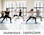 Small photo of Group of multiracial people practicing yoga asanas, doing Warrior Two Virabhadrasana 2, work out indoors full length, posture increases stamina and flexibility, improves physical and mental endurance