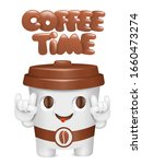 coffee time concept card. paper ... | Shutterstock .eps vector #1660473274