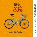 bicycle design over orange... | Shutterstock .eps vector #166048949