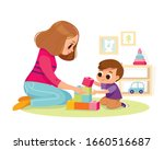 mother playing with kid at home.... | Shutterstock .eps vector #1660516687