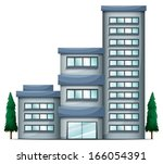 illustration of a tall condo... | Shutterstock .eps vector #166054391