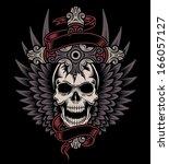 winged skull with cross | Shutterstock .eps vector #166057127