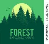 coniferous forest silhouette... | Shutterstock .eps vector #1660768987