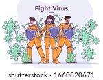 people fight coronavirus covid... | Shutterstock .eps vector #1660820671