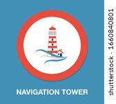 navigation sea tower icon  ... | Shutterstock .eps vector #1660840801