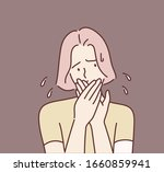 young woman covering her mouth. ... | Shutterstock .eps vector #1660859941
