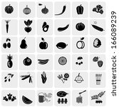 fruit and vegetables icon set | Shutterstock .eps vector #166089239