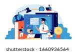 students webinar. computer... | Shutterstock .eps vector #1660936564