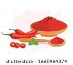 red chili and chili powder...   Shutterstock .eps vector #1660964374