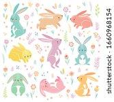 cute bunnies sleeping  running  ... | Shutterstock .eps vector #1660968154
