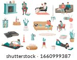 hygge lifestyle flat recolor... | Shutterstock .eps vector #1660999387