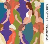 pregnancy motherhood people... | Shutterstock .eps vector #1661001091