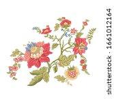 fantasy flowers in retro ... | Shutterstock .eps vector #1661012164