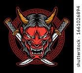 japanese demon mask vector logo | Shutterstock .eps vector #1661026894