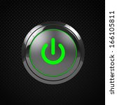 green led power button on black ...