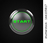 green led start button on black ...