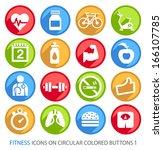 fitness icons on circular