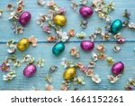 rainbow easter eggs and spring... | Shutterstock . vector #1661152261