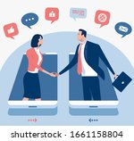 mobile phone and communication. ... | Shutterstock .eps vector #1661158804