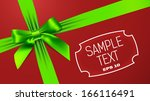 green bow on red background | Shutterstock .eps vector #166116491