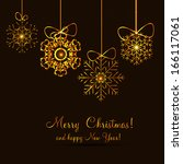 christmas snowflakes background ... | Shutterstock . vector #166117061