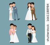 set of characters cute bride... | Shutterstock .eps vector #1661188984
