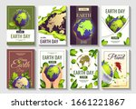 set of 8 cards for earth day ... | Shutterstock .eps vector #1661221867