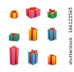 isolated set of colored present ... | Shutterstock .eps vector #166123565