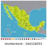 Mexico High detailed vector map of Mexico with navigation icons. The colors in the *.eps-files are ready for print (CMYK) and fully editable. Included files: EPS (v8) and Hi-Res JPG.