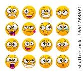 cartoon funny yellow faces.... | Shutterstock .eps vector #1661298691