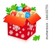 big red vector box of christmas ...   Shutterstock .eps vector #166132751