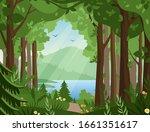 Forest Vector Landscape Flat...