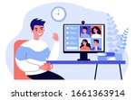worker using computer for... | Shutterstock .eps vector #1661363914