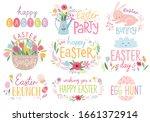 easter floral lettering set... | Shutterstock .eps vector #1661372914
