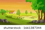 rural landscape with the houses ... | Shutterstock .eps vector #1661387344
