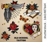 Set Of Old School Tattoo. Bat...