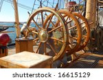 "Sailing ship steering wheel; United States Coast Guard barque ""Eagle""; San Diego, California"