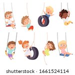 swing rides. gymnastic exercise ... | Shutterstock .eps vector #1661524114