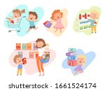 kids shopping. children playing ... | Shutterstock .eps vector #1661524174