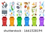 waste bins. flat recycling... | Shutterstock .eps vector #1661528194
