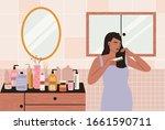 woman combing her hair. woman...   Shutterstock .eps vector #1661590711