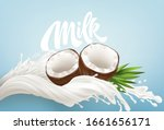 realistic bursts of milk and... | Shutterstock .eps vector #1661656171