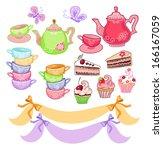 tea time scrapbook set | Shutterstock .eps vector #166167059